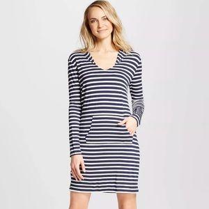 NWT Knit Cover Up Dress Navy Stripe Merona M